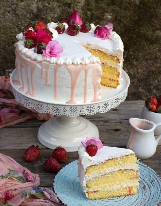 Naked Cake con gocce di cioccolato e frutta fresca - Nonna Anita